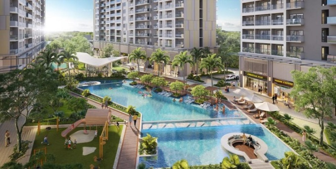 Phối cảnh tiện ích hồ bơi resort tại trung tâm dự án.