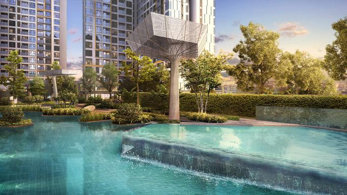 Masteri Centre Point với 10 toà tháp được thiết kế theo tiêu chuẩn quốc tế với hơn 70% diện tích là cảnh quan được đầu tư đầy tính thẩm mỹ bởi Land Sculptor, đơn vị thiết kế Thái Lan. Ảnh phối cảnh: Masterise Homes.