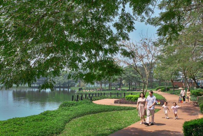 Cư dân tìm thấy không gian sống hài hòa thiên nhiên, tiện nghi đầy đủ tại khu đô thị. Ảnh: Gamuda Land.