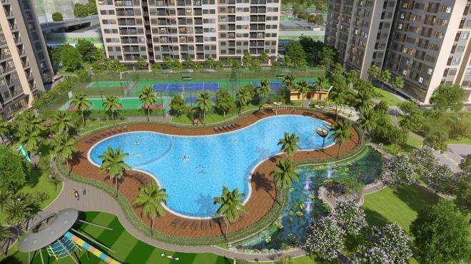 Bể bơi ngoài trời rộng 1.000ha tại dự án.