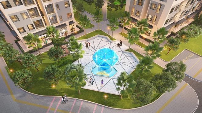 Phối cảnh tòa căn hộ Grand Sapphire 2, được ví như viên ngọc xanh tại dự án Vinhomes Smart City.