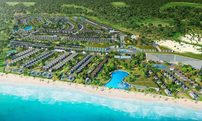 Phối cảnh một dự án nghỉ dưỡng ven biển tại Hồ Tràm.