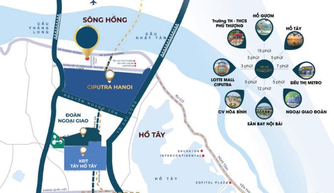 Vị trí thuận tiện của dự án Tây Hồ River View.