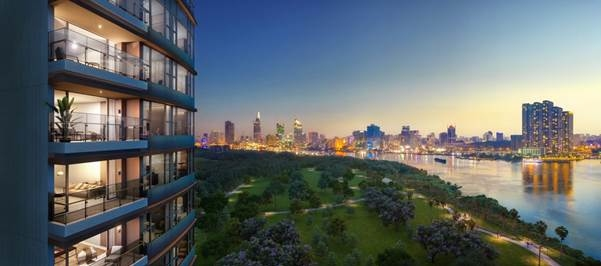 Tầm nhìn toàn cảnh thành phố là một điểm nhấn đắt giá của các căn hộ The River Thu Thiem. Ảnh phối cảnh: City Garden Thủ Thiêm.