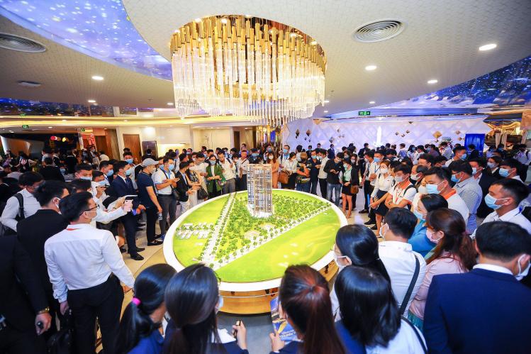Một dự án căn hộ vừa ra mắt thị trường Bình Dương và đã nhận sự quan tâm đặc biệt của giới đầu tư. Ảnh: Tập đoàn Đất Xanh.