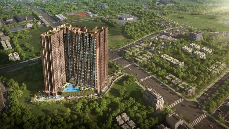Dự án Opal Skyline nằm trên con đường Nguyễn Văn Tiết sầm uất, tập trung nhiều các công ty, doanh nghiệp, cụm hành chính lớn của thành phố mới Thuận An. Ảnh phối cảnh: Tập đoàn Đất Xanh.