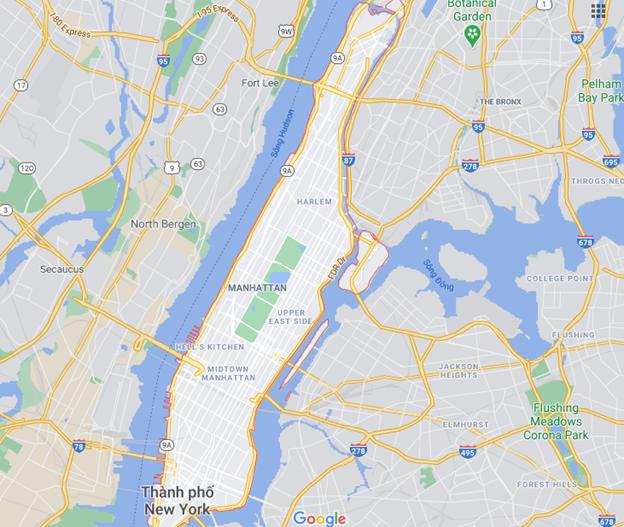 Khu Manhattan - New York quy hoạch thành hai phân khu nằm đối xứng nhau qua Công viên Trung tâm Ảnh chụp từ Google Maps