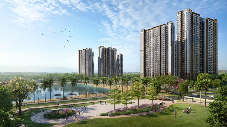 Masteri Waterfront sở hữu tầm nhìn đắt giá hướng biển hồ nước mặn 6,1ha và hồ trung tâm 24,5ha.