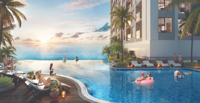 Hệ thống bể bơi vô cực ngoài trời tại dự án The Ruby Hạ Long.
