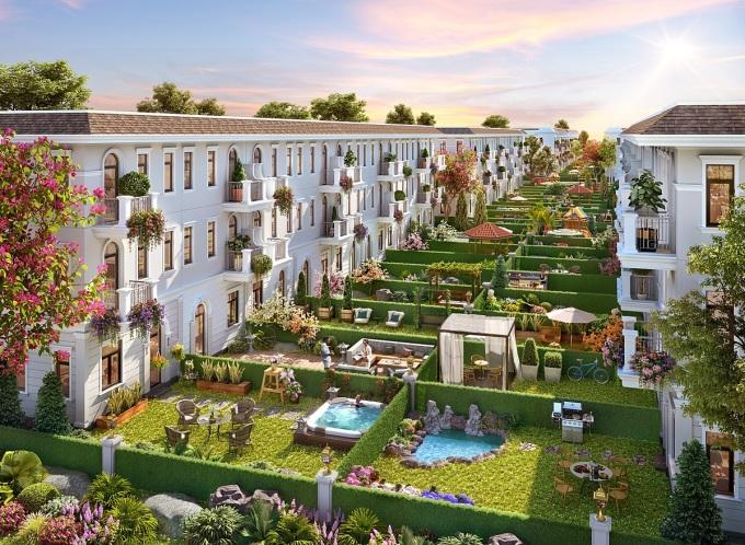 Nhu cầu sở hữu nhà phố không gian sống rộng rãi, gần gũi thiên nhiên ngày càng tăng. Phối cảnh nhà phố vườn Aqua City: Novaland.