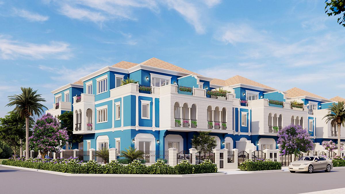 Dòng sản phẩm nhà phố diện tích lớn của Aqua City nằm trên trục đường lớn, phù hợp để an cư lẫn kinh doanh hoặc đầu tư. Ảnh phối cảnh: Novaland.
