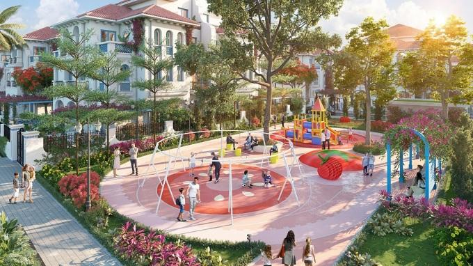 Dự án có 38.000m2 diện tích tiện ích bao gồm các công viên, hồ cảnh quan, sân chơi trẻ em , trung tâm thể thao và clubhouse 5 sao... Ảnh phối cảnh: Tập đoàn Sun Group.