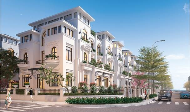 Dãy biệt thự mang đậm kiến trúc Hoàng gia Pháp nằm ngay lõi trung tâm Louis City Hoàng Mai.