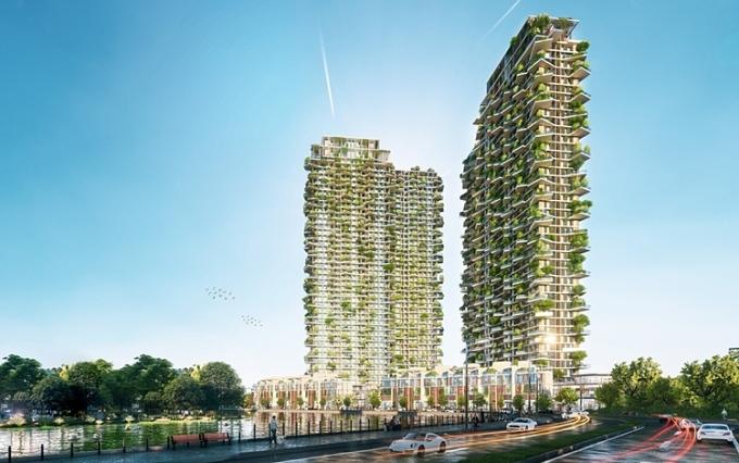 Thiết kế toà tháp với 400 khu vườn trên cao.
