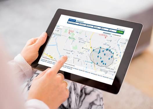 Tìm nhà bằng cách vẽ trên bản đồ một cách dễ dàng. Nguồn: Batdongsan.com.vn