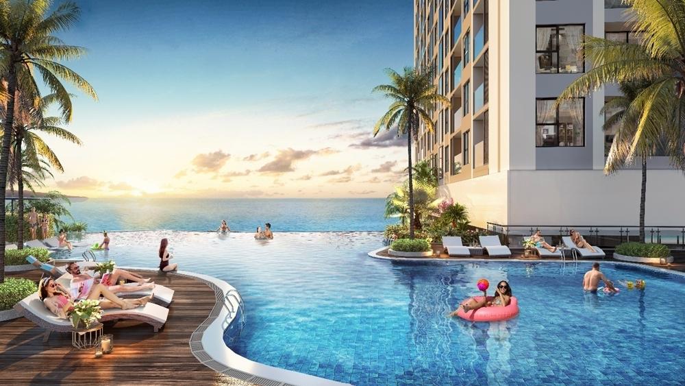 Bể bơi trên cao – một trong 45 tiện ích nội khu dự án The Ruby Hạ Long.