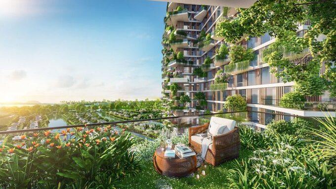 Ảnh phối cảnh một khu vườn xanh ngay ban công căn hộ Sol Forest Ecopark.