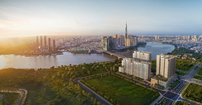 Dự án sở hữu vị trí đắc địa với tầm nhìn ra sông Sài Gòn, khu trung tâm thành phố và ngay mặt tiền Đại lộ Vòng Cung. Ảnh phối cảnh: City Garden Thu Thiem.