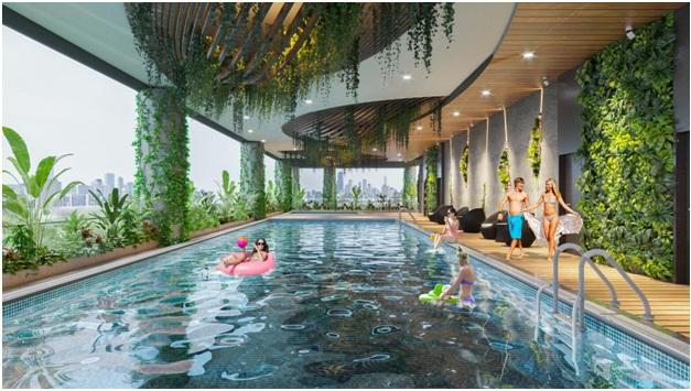 Hệ thống bể bơi điện phân đồng tại Sunshine Green Iconic.