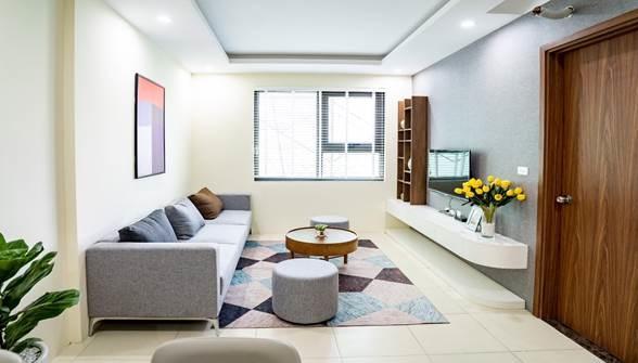 Căn hộ có diện tích 70m2, được bố trí với 2 phòng ngủ, 1 phòng khách, 1 bếp và 2 nhà vệ sinh. Các phòng ngủ đón gió và ánh sáng tự nhiên