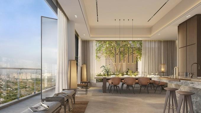 Thiết kế thông thoáng xuyên suốt giữa các phòng giúp căn hộ luôn tràn ngập gió trời. Ảnh phối cảnh: City Garden