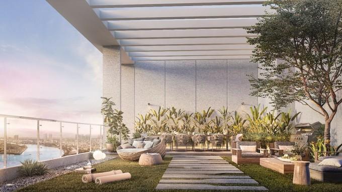 Khoảng thông tầng được chăm chút qua các tiểu cảnh, tạo trải nghiệm tiếp đất về thị giác. Ảnh phối cảnh: City Garden