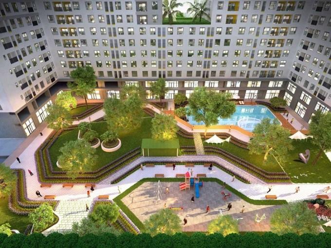 Phối cảnh công viên nội khu tại dự án.