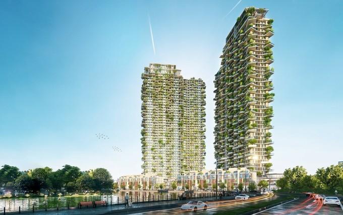 Phối cảnh tòa tháp vườn thẳng đứng Sol Forest. Ảnh phối cảnh: Ecopark.