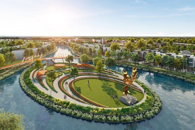 Đô thị Đảo Phượng Hoàng chiếm tới 50% diện tích mặt nước của toàn dự án Aqua City. Ảnh phối cảnh: Novaland.