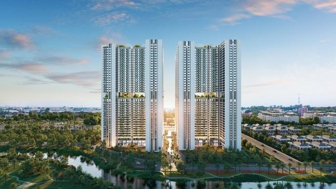 Phối cảnh tòa tháp The Rigel với phong cách Aqua Resort, sở hữu không gian xóa nhòa ranh giới giữa nhà và resort.