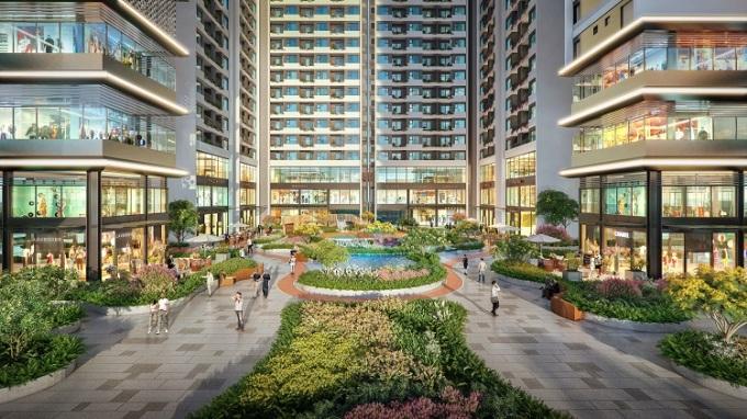 Một góc công viên trung tâm được bố trí cảnh quan như resort nhiệt đới dưới chân tòa tháp The Rigel của Astral City.