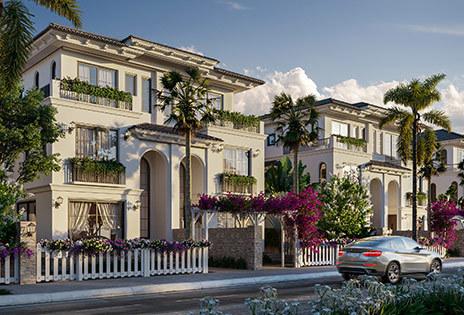 Biệt thự Galicia hai mặt tiền mang phong cách kiến trúc Tây Ban Nha. Ảnh: Tập đoàn Đất Xanh.