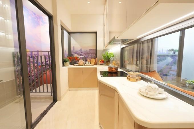 Thiết kế bếp thiên nhiên độc đáo tại D-Aqua với tầm nhìn thông thoáng. Ảnh thực tế căn hộ mẫu: DHA Corporation.