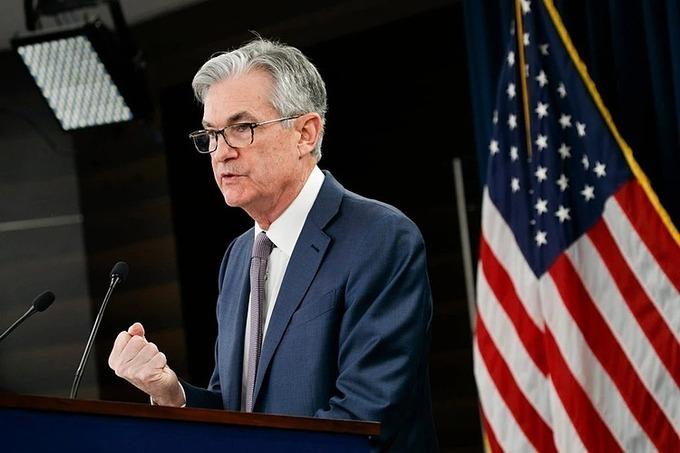 Chủ tịch Cục Dự trữ liên bang Mỹ Jerome Powell trong buổi họp báo tháng 3. Ảnh: AP
