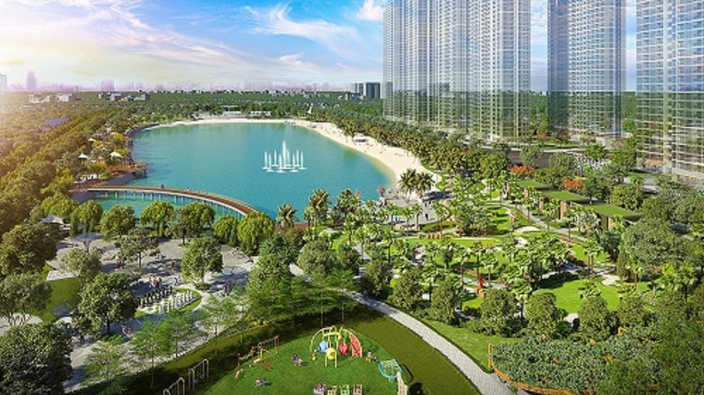 Công viên trung tâm rộng 10,2ha cận kề dự án.