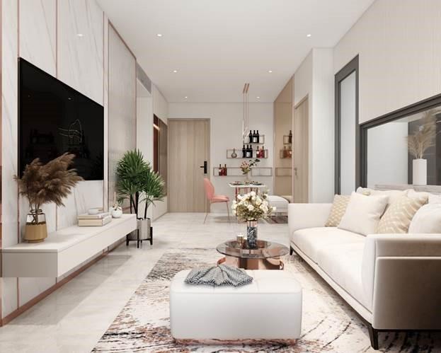 Với giá khoảng 2,8 tỷ đồng, các căn hộ hai phòng ngủ tại khu đô thị trung tâm TP HCM về phía Tây Nam có thể mang về lợi tức cho thuê khoảng 20-30 triệu đồng một tháng. Ảnh phối cảnh dự án D-Aqua: DHA Corporation.