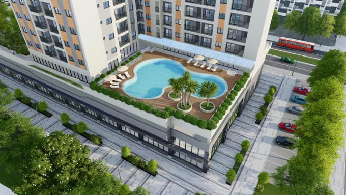 Bể bơi trong tòa căn hộ ct3.