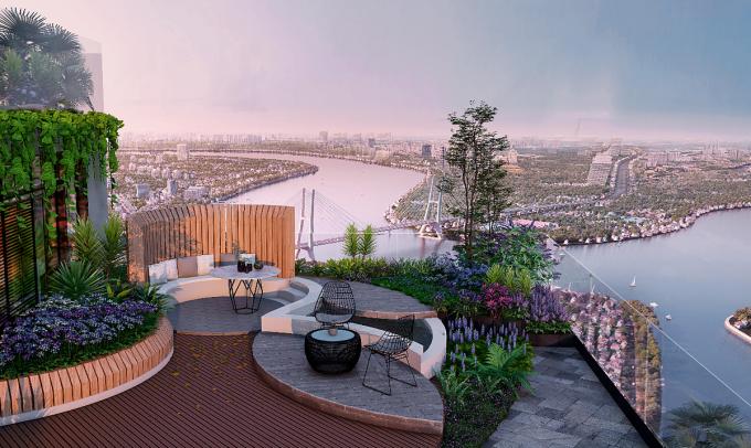 Vườn xanh trong căn hộ kính tràn giúp cuộc sống thêm thư thái.