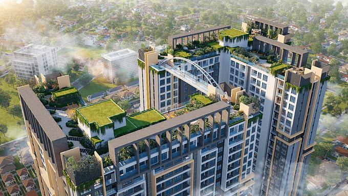 Tổ hợp hệ sinh thái tiện ích trên không mang chuẩn resort của dự án.