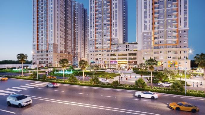Dự án khu căn hộ Bien Hoa Universe Complex vừa được giới thiệu tại thành phố Biên Hòa do Hưng Thịnh Land phát triển. Ảnh phối cảnh: Hưng Thịnh Land.