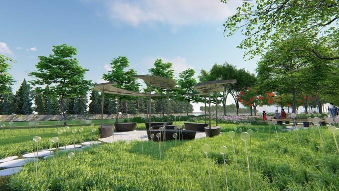 Công viên chủ đề Ánh sáng tại phân khu Zeit River County 1. Ảnh phối cảnh: VGSI.