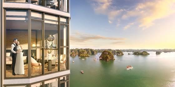 Tầm nhìn từ căn hộ À La Carte Halong Bay ra vịnh Hạ Long.