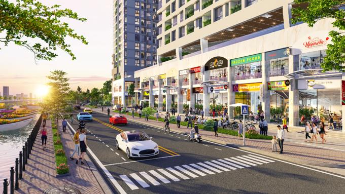 Dãy shop hướng sông được may đo một bãi để xe phía trước, phù hợp tập quán kinh doanh, mua bán của người Việt. Ảnh phối cảnh: DHA Corporation.