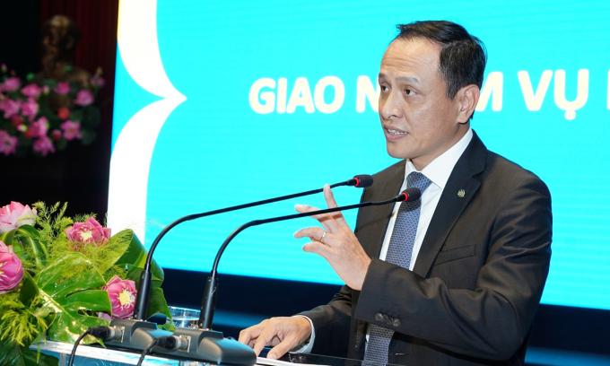 Ông Lê Hồng Hà, tân CEO Vietnam Airlines phát biểu tại một sự kiện hôm 29/12. Ảnh: VNA