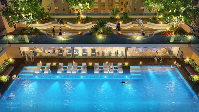 Hồ bơi Tropic Pools nghệ thuật tại tầng 8 giúp cư dân tận hưởng giây phút thư giãn sau một ngày làm việc.