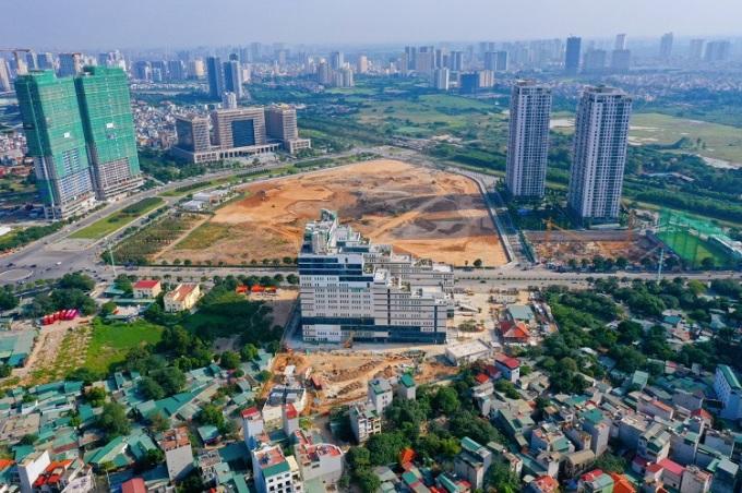 Bệnh viện Hồng Ngọc Mỹ Đình nhìn từ trên cao. Ảnh: H.N.