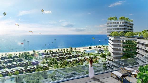 Dự án hướng tầm nhìn ra bãi biển dài gần 2km.