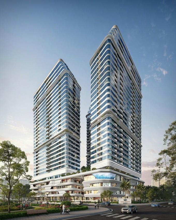 Tòa tháp đôi cao 30 tầng của khu phức hợp King Crown Infinity. Ảnh phối cảnh: BCG Land.