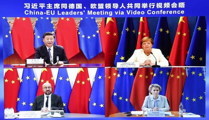 Chủ tịch Trung Quốc Tập Cận Bình họp trực tuyến với một số lãnh đạo châu Âu vào tháng 9/2020. Ảnh: Zuma Press.