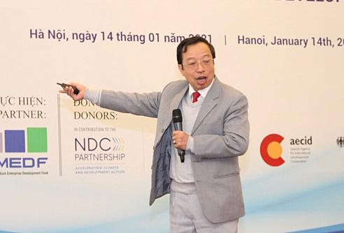 Ông Phạm Xuân Hoè phát biểu tại hội thảo. Ảnh: Quỹ Phát triển doanh nghiệp nhỏ và vừa.
